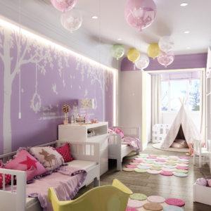 Белый натяжной ПВХ потолок в детской комнате - 12 м2