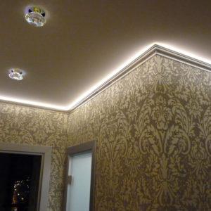 потолок ПВХ парящий с светодиодной лентой. Производcтво Германия ( Pongs) Площадь : 6 м2 Стоимость : 12 400 руб