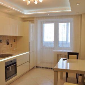 Натяжной потолок для кухни - парящий | ПВХ | белый | матовый | со светодиодной лентой | 10 м2