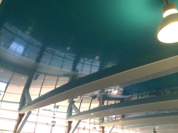 Натяжной потолок ПВХ с криволинейным участком помещение бассейна