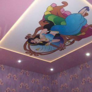 Натяжной потолок - белый, матовый, с фотопечатью и точечными светильниками - 18 м2