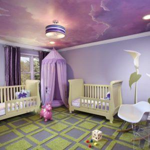 Натяжные потолки в детской комнате - 16 м2