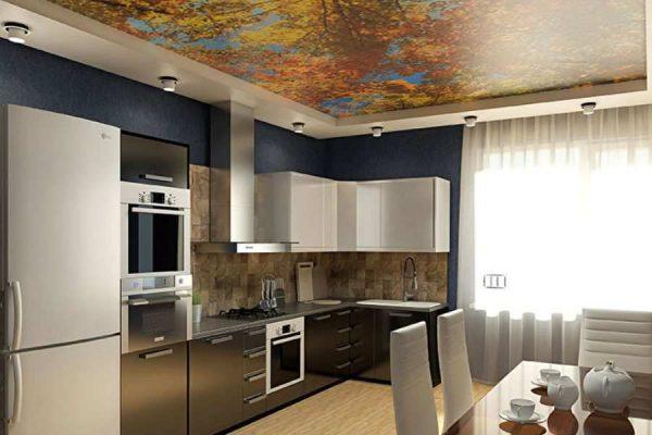 Двухуровневый натяжной потолок с фотопечатью для кухни - 8 м2